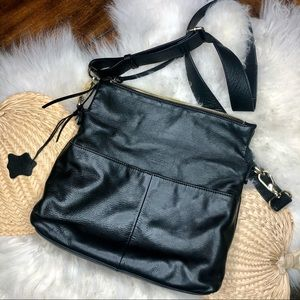 Anthro Margot black leather slouchy hobo crossbody
